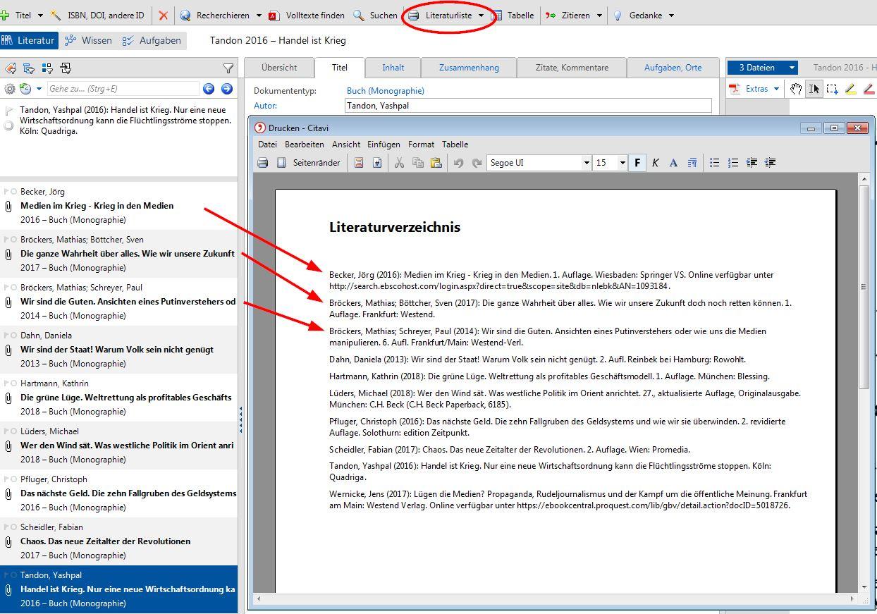 Citavi literaturverzeichnis erstellen akademski kalendar ffzg